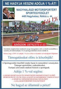 Adó 1% Nagyhalász Speedway Ring 2020
